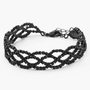 Black Rhinestone Infinity Chain Bracelet,