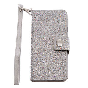 Iridescent Crystal Studded Wristlet Phone Case,