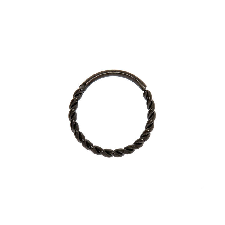 Black 20G Twisted Coil Hoop Nose Ring,