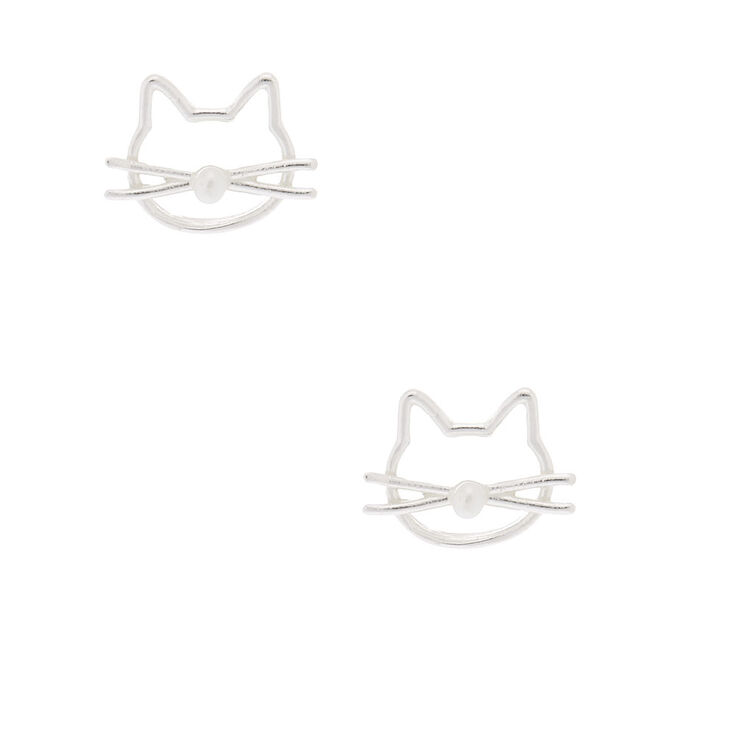 Sterling Silver Pearl Kitty Stud Earrings,