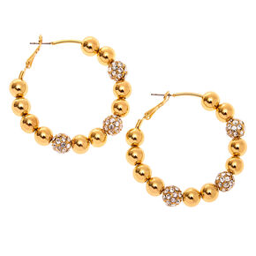 Gold 50MM Fireball Hoop Earrings,