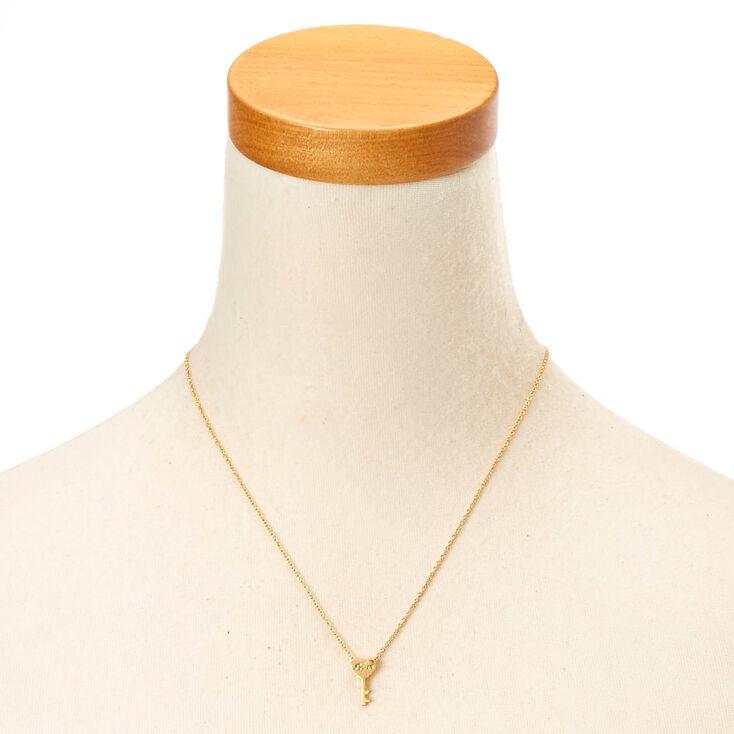 Gold-Tone Key Charm Necklace,