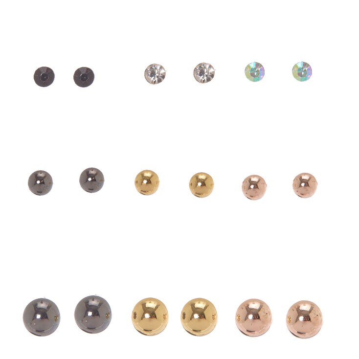 Mixed Metal Graduated Crystal & Ball Stud Earrings,