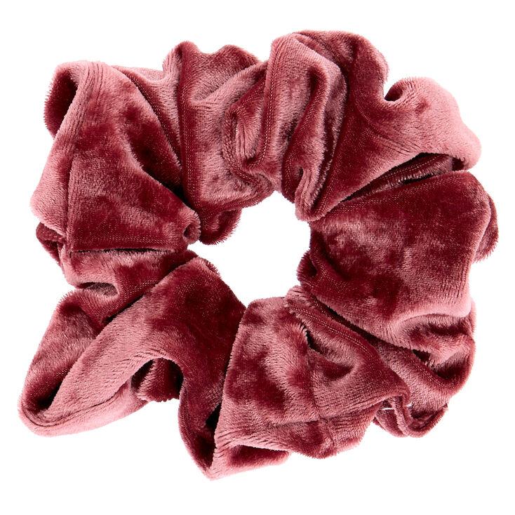 Large Velvet Hair Scrunchie - Mauve Pink,
