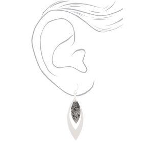 """Silver 2"""" Snake Print Drop Earrings,"""
