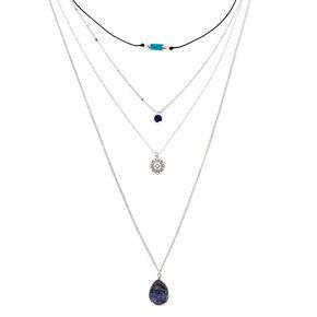 Natural Stone Multi Strand Necklace - Blue,