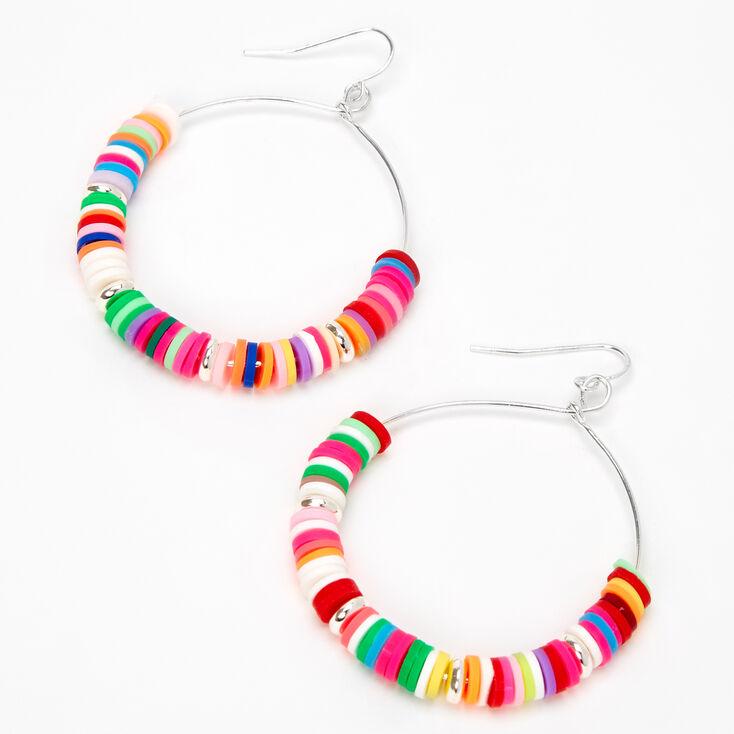 """Silver 2"""" Rainbow Disc Hoop Earrings,"""