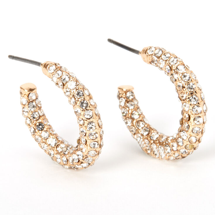 Gold 20MM Glam Pave Rhinestone Hoop Earrings,