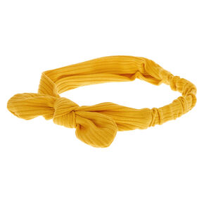 Ribbed Knotted Bow Headwrap - Mustard,