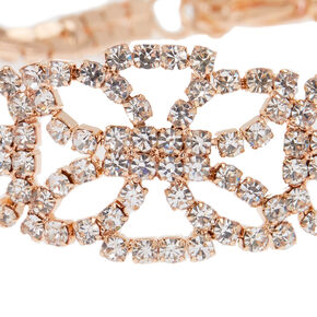 Rose Gold-Tone Imitation Crystal Statement Bracelet,