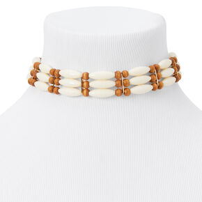 Ivory & Brown Wooden Tribal Choker Necklace -,