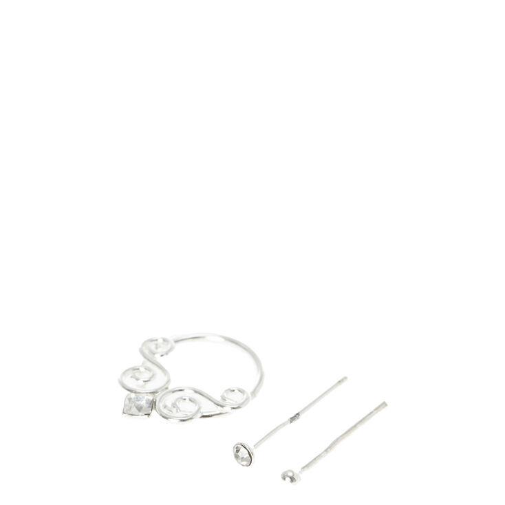 Sterling Silver Nose Hoop & Crystal Studs,