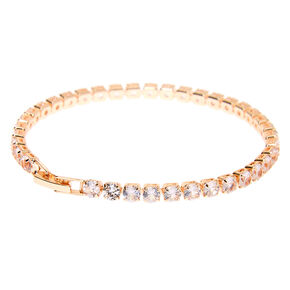 Rose Gold Cubic Zirconia Tennis Bracelet,