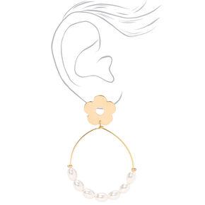 """Gold 3"""" Daisy Pearl Teardrop Drop Earrings,"""