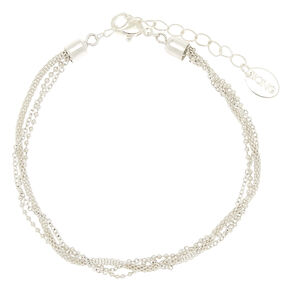 Silver Braided Layered Anklet,