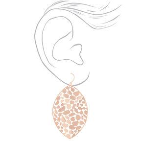 """Rose Gold 2"""" Pebble Leaf Drop Earrings,"""