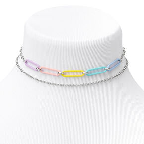 Silver Rainbow Chain Link Choker Necklaces - 2 Pack,