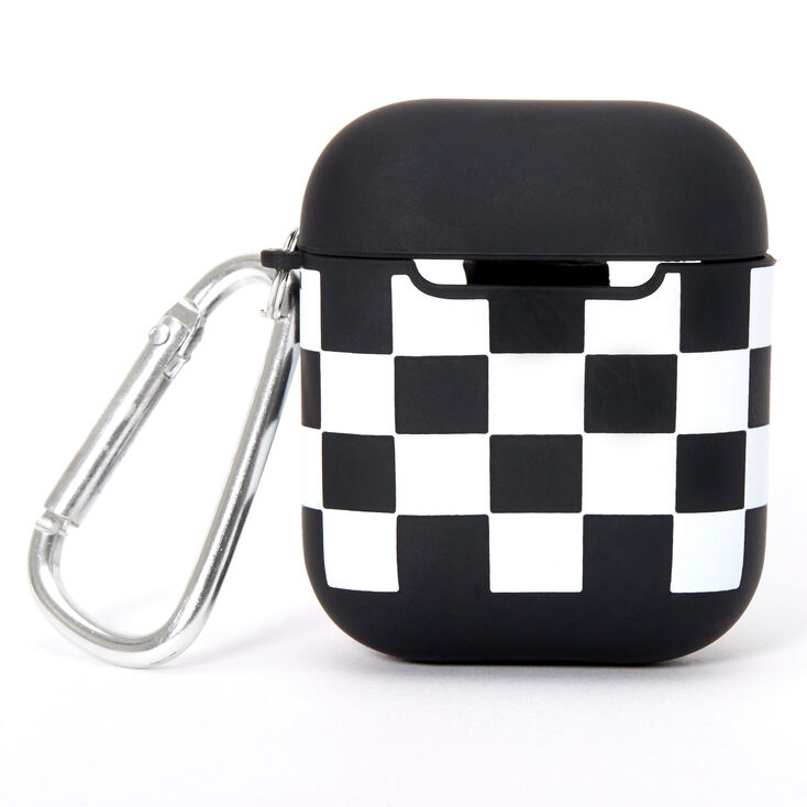 Black & White Checkered Silicone Earbud Case Cover - Compatible With Apple AirPods,