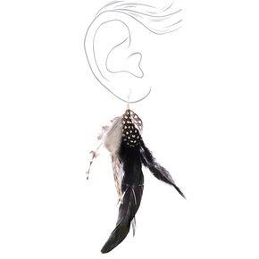 """7"""" Festival Feather Drop Earrings - Black,"""