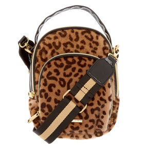 Faux Fur Leopard Messenger Crossbody Bag,