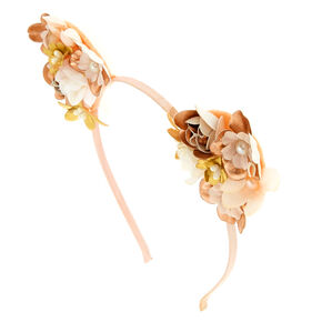 Pearl Flower Cat Ears Headband - Rose Gold,