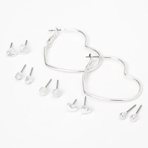Silver Heart Stud & Hoop Earrings - 6 Pack,