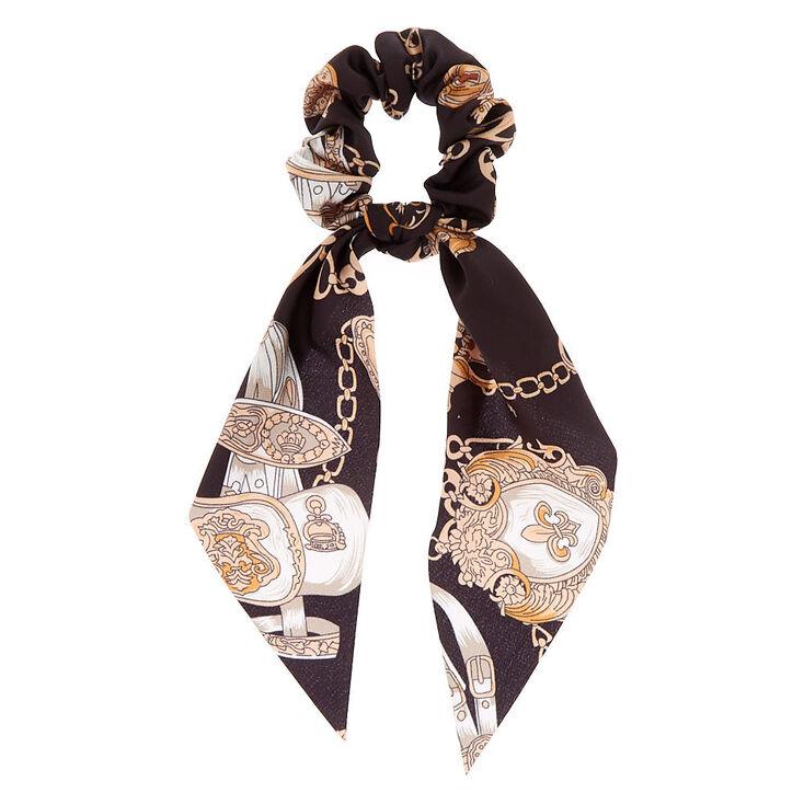 Chain Satin Scarf Hair Scrunchie - Black,