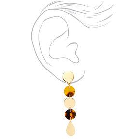 """Gold 2"""" Geometric Tortoiseshell Linear Clip On Drop Earrings,"""