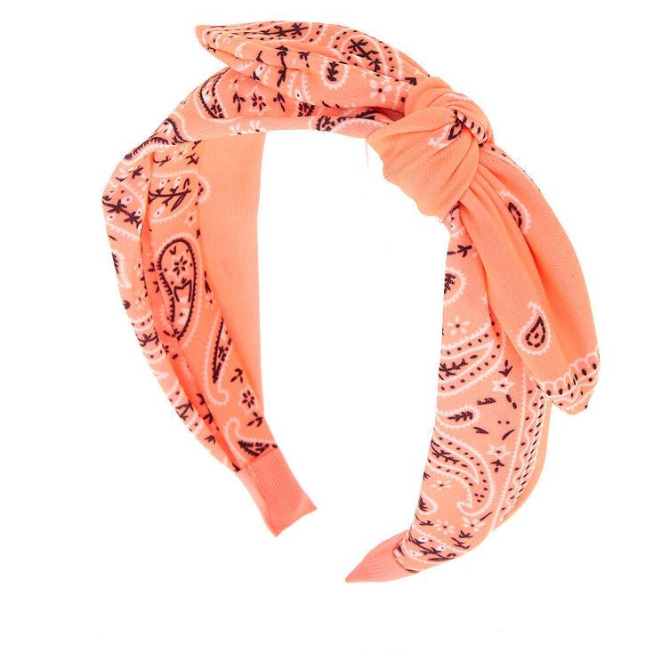 Bandana Knotted Bow Headband - Coral,