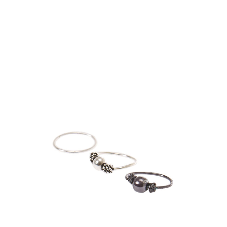 Mixed Metals Sterling Silver Nose Rings Three Pack,