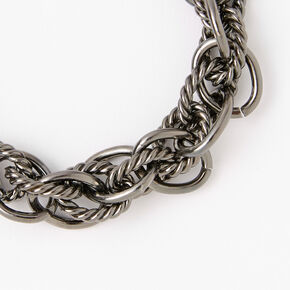 Hematite Twisted Link Chain Bracelet,