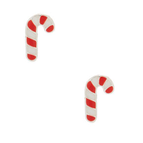 Sterling Silver Candy Cane Stud Earrings,