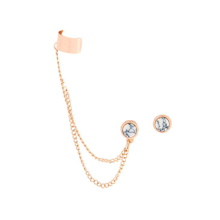 Rose Gold & Marble Connector Earrings,