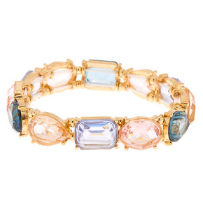 Gold Geometric Stone Stretch Bracelet,