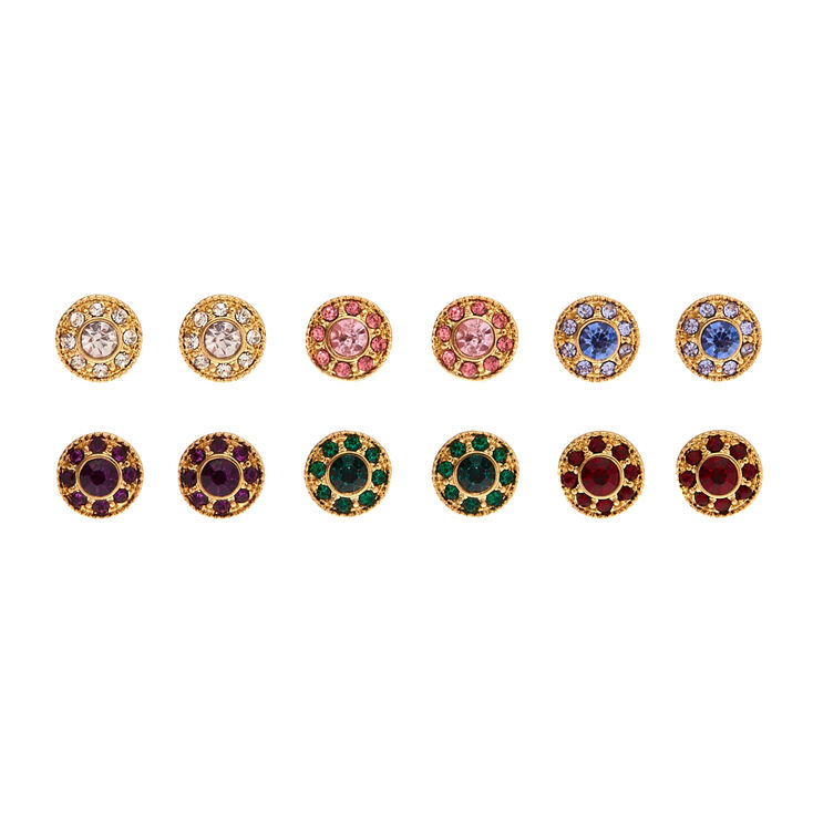 6 Pack Gold Tone Colored Gem Circle Stud Earrings,