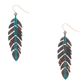 """Gold 2.5"""" Patina Feather Drop Earrings - Turquoise,"""