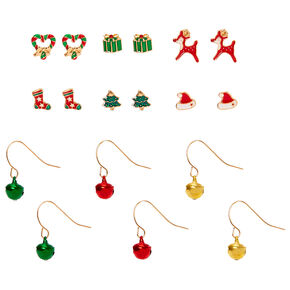 Gold Christmas Mixed Earrings - 9 Pack,