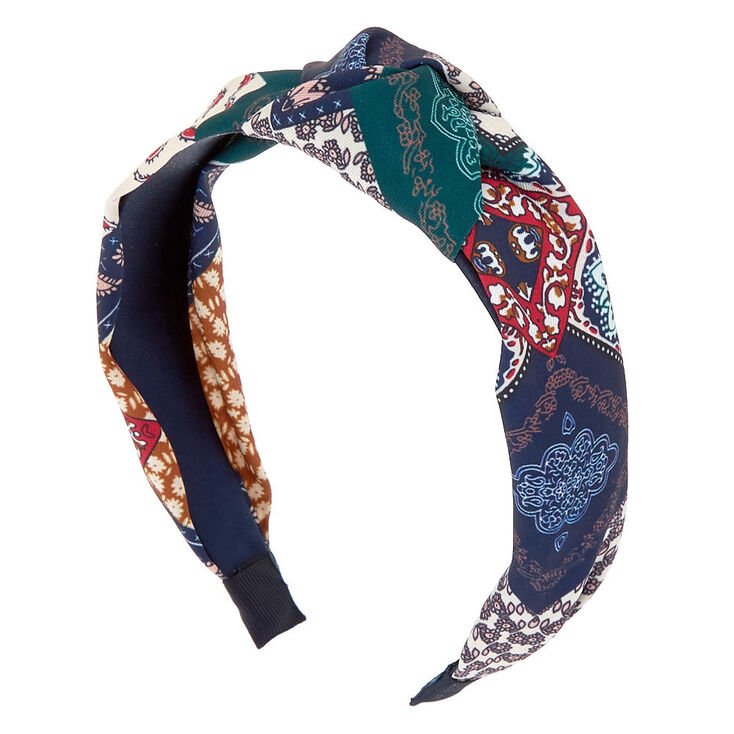 70s Headbands, Wigs, Hair Accessories Icing Patched Paisley Knotted Headband $7.99 AT vintagedancer.com