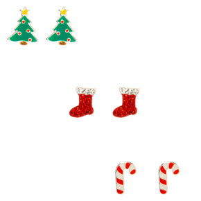 Sterling Silver Christmas Treat Stud Earrings - 3 Pack,
