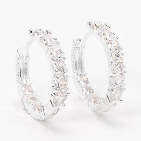 Silver 20MM Cubic Zirconia Hinge Hoop Earrings,
