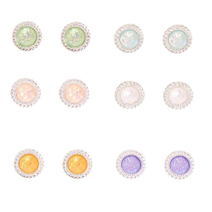 Iridescent Round Stone Stud Earrings,