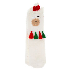 Llama Cozy Crew Socks - White,