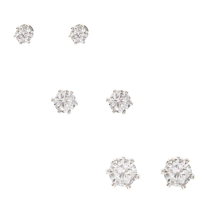 Silver Tone Framed Graduated Cubic Zirconia Magnetic Stud Earrings,