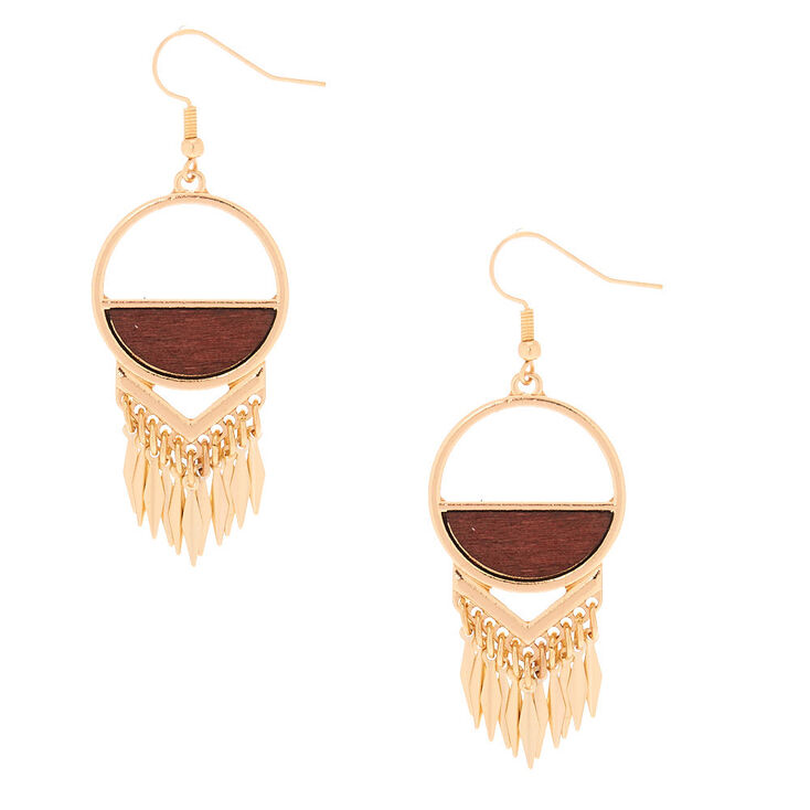 """Gold 2"""" Wood Drop Earrings,"""