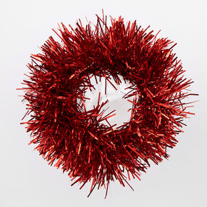 Medium Tinsel Hair Scrunchie - Red,