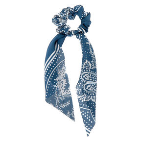 Paisley Satin Scarf Hair Scrunchie - Blue,