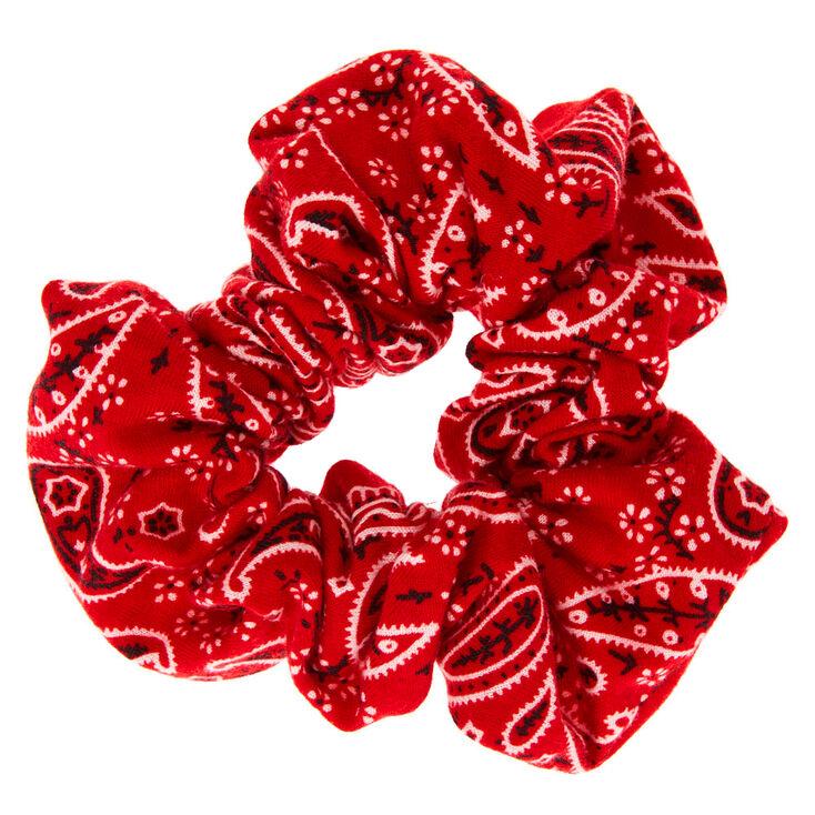 Medium Bandana Hair Scrunchie - Red,