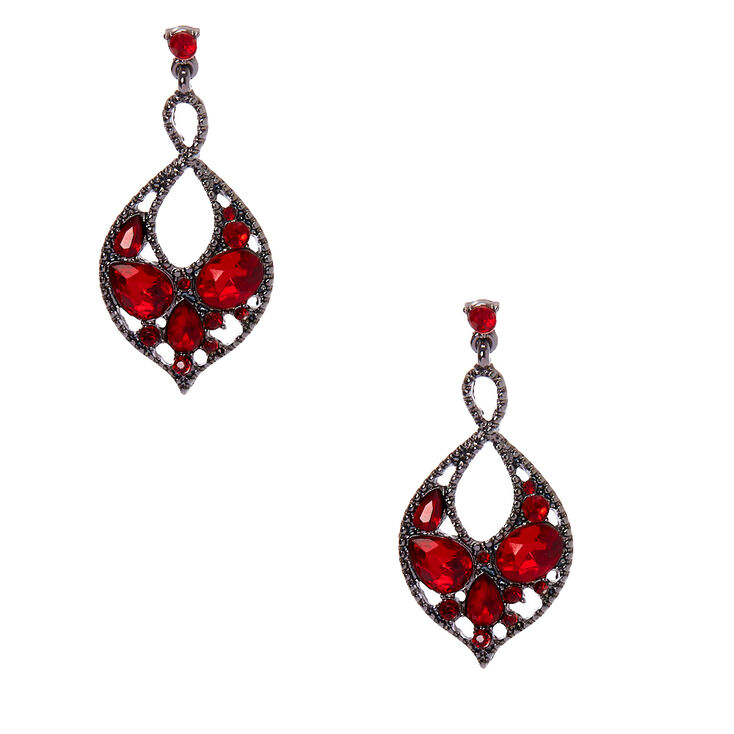 "Hematite 1.5"" Crystal Drop Earrings - Red,"