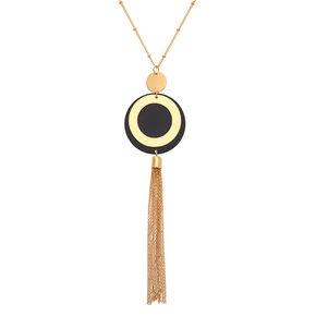 Gold Disc Tassel Long Pendant Necklace,