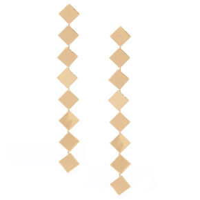 """Gold 3.5"""" Square Drop Earrings,"""